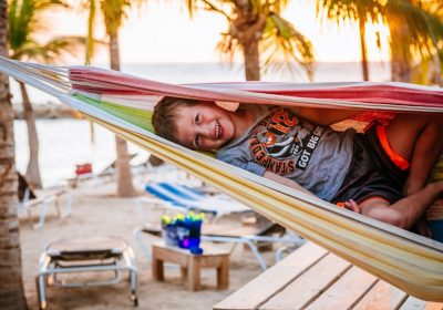 little boy in hammock