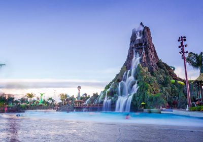 Main attraction at Volcano Bay, Universal Studios, the waterfall slider, Orlando, Florida, USA