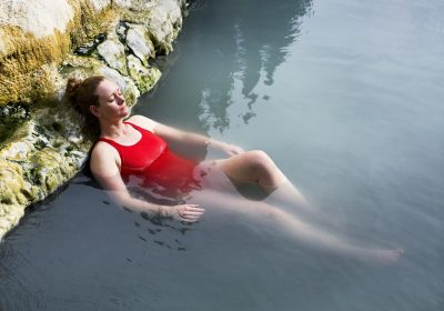 woman relaxing in a hot spring